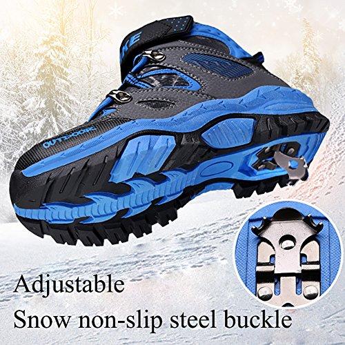 ASHION Kinder Schnee Stiefel Camouflage Wasserdichte Winterschuhe Kinder rutschfeste Knöchel Wandern Stiefel für Winter Gummistiefel Blau