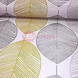 Scandi Feuille Feuilles de papier peint Paillettes Argenté métallique Jaune Blanc Arthouse