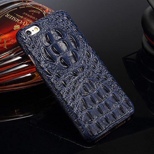 EKINHUI Case Cover Luxus 3D Krokodil Korn Haut Textur Echt Leder Stoßstange Fall Shockproof Hard Back Cover für iPhone 6 Plus & 6s Plus ( Color : Brown ) Blue