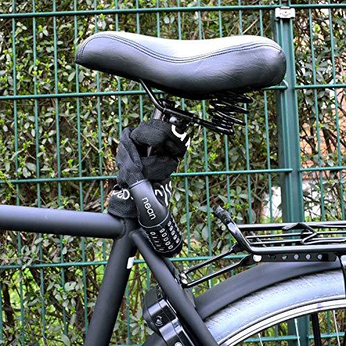 nean Fahrrad-Ketten-Schloss, Zahlen-Code-Kombination-Schloss, Stahlkettenglieder, schwarz, 6 mm x 900 mm - 6
