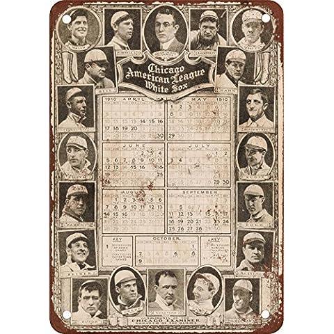 1910Chicago White Sox Schedule Look Vintage Riproduzione in metallo Tin Sign 20,3x 30,5cm