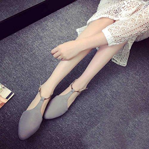 Transer® Damen Flach Sandalen Metall Ankle-strap Kunstleder+Kunststoff Schwarz Grau Rosa Sandalen (Bitte achten Sie auf die Größentabelle. Bitte eine Nummer größer bestellen) Grau