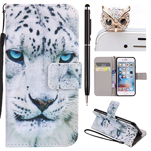 iPhone 6 Hülle,iPhone 6S Case - Felfy Flip Bookstyle Wallet Luxe Handyhülle Retro Painted Niedlich Farbe Muster Premium Slim PU Leather Stand Wallet Flip Lederhülle Case Cover Pouch Shell Soft mit TPU Weiß Leopard Cas