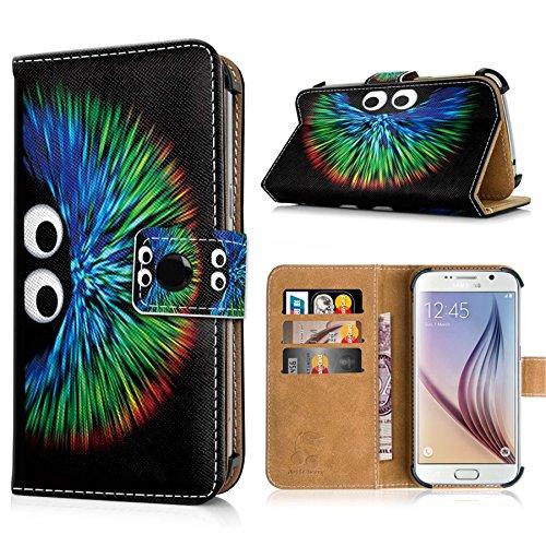 Apple iPhone 6s Handytasche mit Standfunktion, Magnetverschluss & Kreditkartenfächern. Schutzhülle Tasche Case Brieftasche Handyhülle / bunter Igel(334) bunter Igel(334)