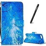 Slynmax Coque Bois Bleus Motif Peint Mode PU Cuir Étui iPhone 7 Plus/8 Plus Housse...