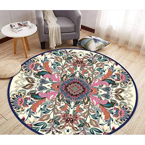 ZDDT Nordic European American neuen chinesischen Teppich Wohnzimmer Couchtisch Kommode Kreis Matten Computer Stuhlmatte gepflastert,D,90 * 90CM
