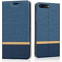 Funda OnePlus 5, Riffue Carcasa PU Ultra Delgada con Cartera de Estilo Libro Vaquero Protectora de Folio Flip Case para OnePlus 5 - Azul