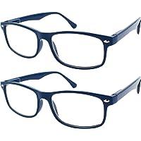 TBOC Occhiali da Vista Lettura Presbiopia - (Pack 2 Unità) Graduati +1.00 Diottrie Montatura Blu Fashion Leggeri…