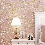 H&M Tapete modernen Stil 3D einfache Vlies Rosen reine Farbe Tapeten Dekoration Wohnzimmer Restaurant TV Wand Schlafzimmer Café Shop Kleidung Tapete (53 cm (W) × 10 m (L)) , pink