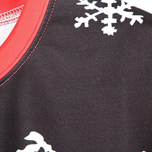 Noël Pull-over Sweatshirt Xmas Imprimé 3D Sweat-shirts Hauts A Manches Longues - Femmes Unisexe Noir