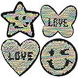 Pailletten Strass Glitzer Emoji Stern Liebes Schmetterlings Herz Patches Zum Aufbügeln Aufnäher Set mit Pailletten für Kinder Mädchen (4 Stück)