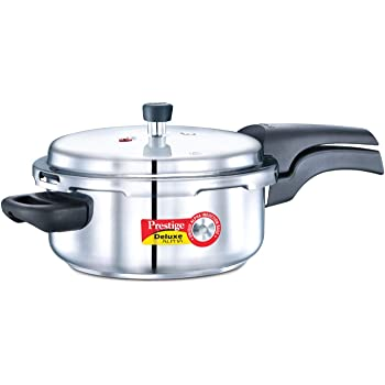 Prestige Deluxe Alpha Outer Lid Stainless Steel Pressure Cooker, 3 Litres, Silver