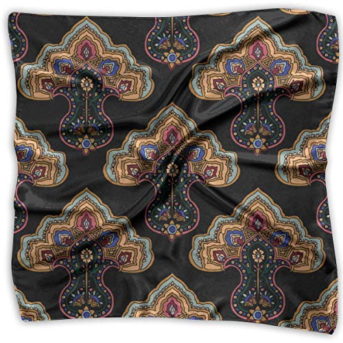 Womens 100% Bambus (Traditional Oriental Ornament Pattern Square Scarf - Women's Various Design Neckerchief 100% Polyester)