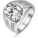 Bonlavie Anillo de compromiso para hombre, plata de ley 925, circonita cúbica blanca, anillo de compromiso solitario, regalo