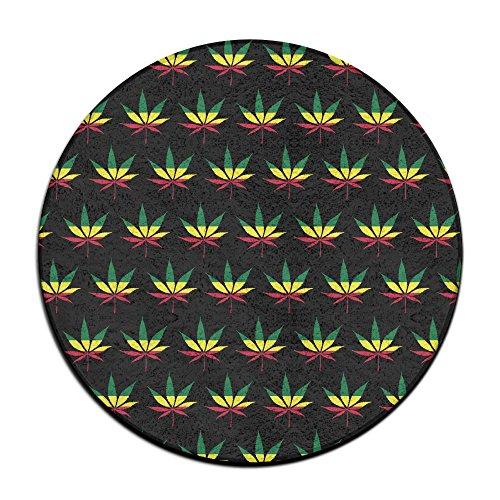 Unbekannt Jamaica Flag Unkraut-Reggae Anti-Rutsch-Matten rund Teppich-Matten Esszimmer-Teppich Schlafzimmer Teppich-Bodenmatte 59,9 cm (Unkraut Schal)