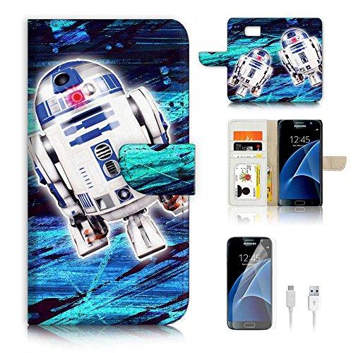 (für Samsung Galaxy S7) Flip Wallet Case Cover & Displayschutzfolie & Ladekabel Bundle. a6431BB8Krieg der Sterne
