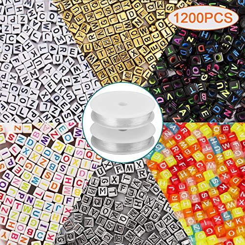 AIEX 1200 Stück 6 Farben Buchstaben Perlen 6 x 6 mm Acryl Alphabet Buchstaben Perlen mit 2 Rollen Crystal elastische Schnur für DIY Schmuck Armband Halskette Machen (Alphabet Perlen Silber)