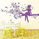 """Wandtattoo-Loft """"Elfe auf Baum"""" - Wandtattoo / 49 Farben / 3 Größen/cream / 115 x 213 cm"""