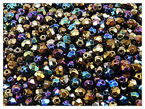 100 Stück Tschechische Facettierten Glasperlen Fire-Polished Rund 4 mm, Jet Iris Rainbow -