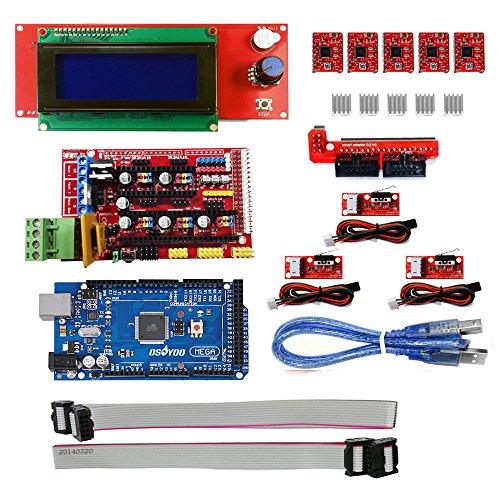 KOOKYE 3D Stampante componente per Arduino RepRap (Ramps 1.4 + Mega2560 + Endstop+ A4988 + 2004LCD)