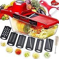 Mandolina cortadora multifuncional,cortador de verduras,trituradora de alimentos,picadora rallador,6