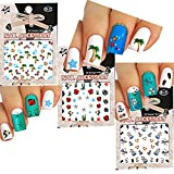 Fun in the Sun Beach Theme Nail Art 3D Stickers Decals Variety Pack of 3 /Palm Tree, Star Fish, Yacht, Stars, Flip Flop, Fish/ With Flower Stickers