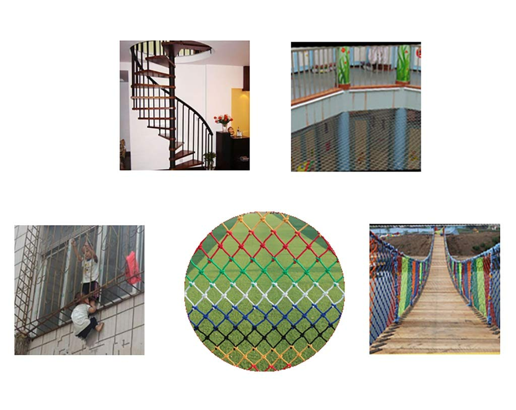 Child safety net protective net balcony stairs anti-fall net kindergarten color decorative net fence network Length 1M /9M Hand braided traditional structure (Size : 4m*5m)  [Protect children's safety]: Many children fall from the building, let us understand that the safety of children can not be ignored. [Polyester knotless woven mesh]: The mesh surface has large pulling force, and the double needle has no knot woven mesh hole, so that the mesh has stronger impact resistance. [wire diameter 4MM, mesh spacing 4CM]: Escort for baby safety.(Others available in our shop) 5