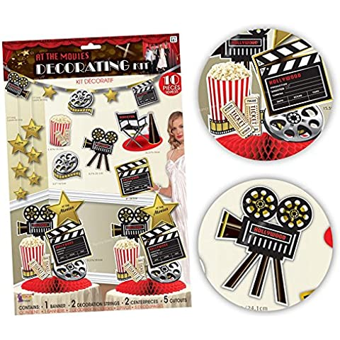 10 piezas Película películas Decoración Hollywood Kit Pack Hollywood Tema Premiere palomitas orificio de banderines para fiesta mesa mesa piezas