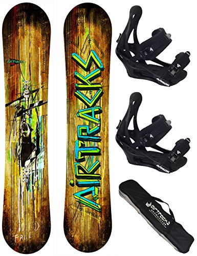 AIRTRACKS SNOWBOARD SET / WILD SNOWBOARD WIDE FLAT ROCKER + BINDUNG SAVAGE + SB BAG / 156 163 165 / cm
