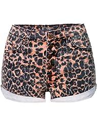 Wgwioo Taille Haute Dames Stretch Slim Boucle Short Leopard Jeans Party Mini Pantalons