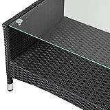 Deuba® Poly Rattan 4+1 Sitzgruppe Schwarz   7cm dicke Sitzauflagen creme  2 Sessel + 1 Bank   Tisch mit Glasplatte   Für Drinnen & Draußen [ Modellauswahl ] – Sitzgarnitur Lounge Sitzgruppe Gartenmöbel Gartenlounge Set - 9