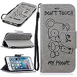 Chreey Coque Apple Iphone 6 / 6S (4.7 pouces) (DON'T TOUCH MY PHONE),PU Cuir Portefeuille Etui Housse Case Cover ,carte de crédit Fentes pour ,idéal pour protéger votre téléphone