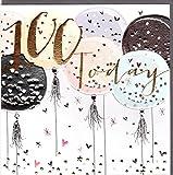 Belly Button Designs Paloma bezaubernde Glückwunschkarte zum runden 100. Geburtstag mit Prägung, Folie und Kristallen BB417