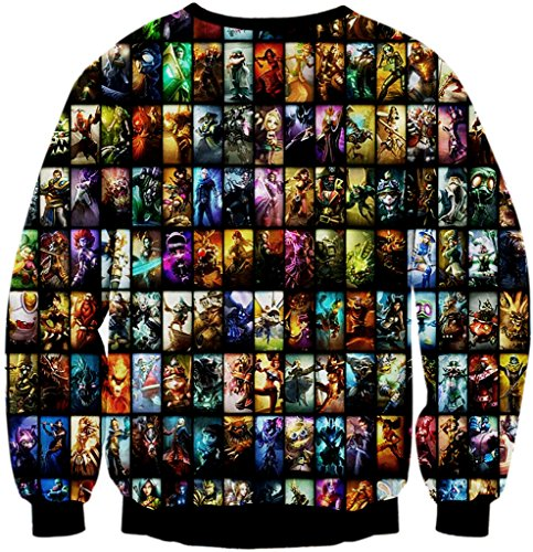 Pizoff Unisex Hip Hop Sweatshirts mit Bunt 3D Digital Printing Muster Y1759-C4
