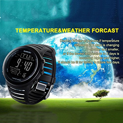 Beautyrain reloj de pulsera Barómetro de la pesca Digital Multi Función herramienta altímetro Relojes alarma termómetro Espejo de vidrio