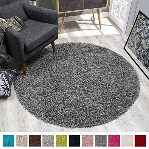 SANAT Teppich Rund - Grau Hochflor, Langflor Modern Teppiche fürs Wohnzimmer, Schlafzimmer, Esszimmer oder Kinderzimmer, Größe: 150x150 cm