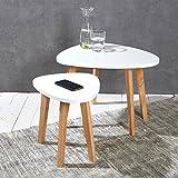 Wholesaler GmbH 2er Set Nierentische Satztische Beistelltische Couchtische weiß Natur im Retro- BZW. skandinavischen Design