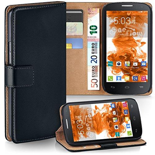 moex Alcatel One Touch Pop C7 | Hülle Schwarz mit Karten-Fach 360° Book Klapp-Hülle Handytasche Kunst-Leder Handyhülle für Alcatel One Touch Pop C7 Case Flip Cover Schutzhülle Tasche