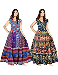c303a0b8c0 New Radhika Enterprises Women s Jaipuri Floral Print Cotton Maxi Long  Dresses (FR 242