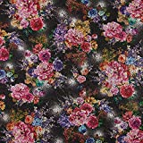 Fabulous Fabrics Strickstoff Jacquard Rosen – Schwarz — Meterware ab 0,5m — Zum Nähen von Jacken, Kleidern und Pullovern