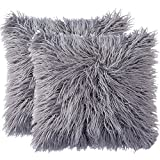 YANIBEST Natural Mongolian Faux Fur Throw Pillow Case Sofa Cushion Covers Home Decor 20 x 20 Inch