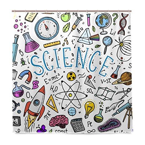 BALII Sketch Bildung und Wissenschaft Duschvorhang 182,9x 182,9cm Polyester Wasserdicht mit 12Haken für Badezimmer - Wissenschaft Duschvorhänge