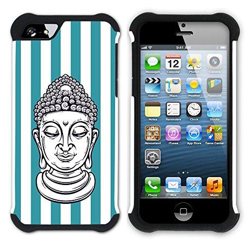 Graphic4You Buddha-Kopf Streifenmuster (Wasserblau) Hart + Weiche Kratzfeste Hülle Case Schale Tasche Schutzhülle für Apple iPhone SE / 5 / 5S Türkis
