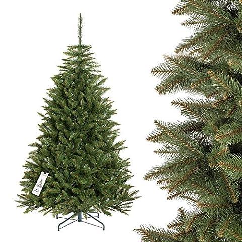 FAIRYTREES sapin arbre de Noêl artificiel EPICÉA NATUREL, tronc vert, matière PVC, socle en métal, 180cm