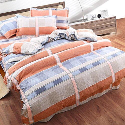Perkal-doppel-duvet-set (einfache blume Bettbezüge schlafzimmer ebene Gefärbt Bettbezug Sets Polyester elegante mode geschenk 4 stücke , 005 , 200x230cm)