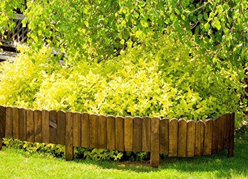 Floranica® Flexibeler Beetzaun 203 cm aus Holz als Steckzaun Rollboarder, Beeteinfassung, Beetumrandung, Rasenkante oder Palisade – wetterfest imprägniert