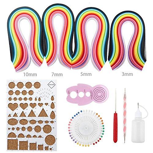 Papier-Rüschen-Set, 1040Stück, Streifen in 26Farben mit Rüschen-Werkzeug (Papier-perlen-handwerk Kit)