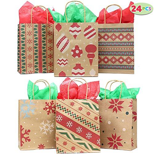JOYIN 24pcs Bolsas Regalo Kraft Navidad Personalizar
