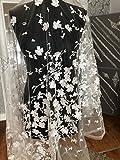 kn31Lace 3D Blumen Brautschmuck/Hochzeit Kleid bestickt Spitze Stoff scallop Trim Aufnäher 140Breite, Light Ivory, 183 cm