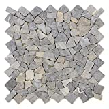 DIVERO 1qm Marmor Naturstein-Mosaik Fliesen für Wand Boden Bruchstein anthrazit 4 Großformat-Matten 50 x 50cm